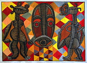 Contemporary Tribal Art Paintings - Homage to Christian Lattier Ivorian Sculptor by Ephrem Kouakou