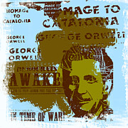 Author Digital Art Framed Prints - Homage to George Orwell Framed Print by Jeff Burgess