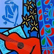 Guitar Case Framed Prints - Homage To Matisse I  Framed Print by John Nolan