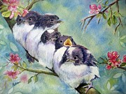 Baby Bird Painting Prints - Home Alone Print by Patricia Pushaw