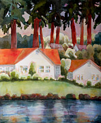 Blendastudio Paintings - Home by the Lake by Blenda Studio