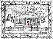 Christmas Card Drawings Framed Prints - Home for Christmas Framed Print by Lizi Beard-Ward