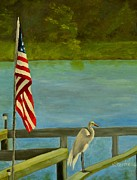 4th July Painting Metal Prints - Home for the 4th Metal Print by Nina Stephens
