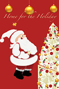 Snowy Holiday Card Posters - Home For The Holiday Poster by Debra     Vatalaro