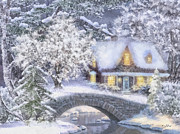 Snowfall Paintings - Home for the Holidays by Mo T