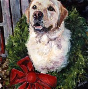 Yellow Labrador Retriever Prints - Home for the Holidays Print by Molly Poole