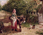 Playful Dog Prints - Home from Market Print by Edgar Bundy