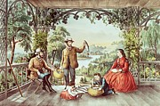 Landscapes Drawings Prints - Home from the Brook The Lucky Fisherman Print by Currier and Ives