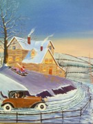 Snow Scene Paintings - Home From The City by Seth Wade