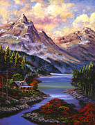 Hyper Painting Posters - Home In The Mountains Poster by David Lloyd Glover
