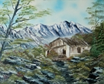 Bright Appearance Painting Prints - Home in the Mountains Print by Edward C Van Wicklen Sr