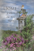 Bluebird Posters - Home is Where Poster by Lori Deiter