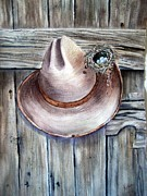 Ranch Art Posters - Home is Where You Hang Your Hat Poster by Patricia Pushaw
