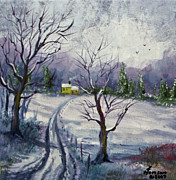 Country Road Mixed Media Prints - Home Print by Kenny Henson