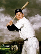 Athletes Drawings Metal Prints - Home Mickey Mantle Metal Print by Iconic Images Art Gallery David Pucciarelli