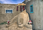 Pueblo Architecture Posters - Home On Taos Pueblo Poster by Sandra Bronstein