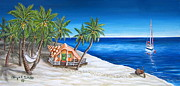 Key West Paintings - Home on the Beach by Abigail White