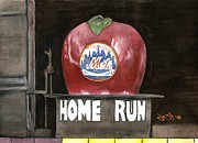 Shea Stadium Painting Prints - Home Run Apple Print by Jason Yoder
