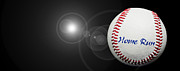 Baseball Digital Art Metal Prints - Home Run - Baseball - Sport - Night Game - Panorama Metal Print by Andee Photography
