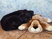 Black Lab Puppy Paintings - Home Security by Mary Giacomini