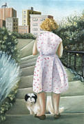 Dog Walking Painting Posters - Home Study Poster by Caroline Jennings