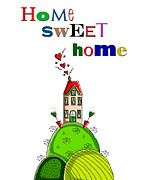 Wall Decor Greeting Cards Prints - Home Sweet Home Print by Kelly McLaughlan
