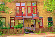 Streetscenes Paintings - Home Sweet Home Red Wooden Doors The Walk Up Where We Grew Up Montreal Memories Carole Spandau by Carole Spandau