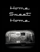 Black White Framed Prints - Home Sweet Home Vintage Airstream Framed Print by Edward Fielding