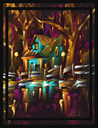 Trees Paintings - Home Sweeter Home - Scratch Art Series - # 17 by Steven Lebron Langston