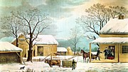 Currier Framed Prints - Home To Thanksgiving Framed Print by Currier and Ives