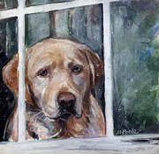 Yellow Labrador Retriever Paintings - Homebody by Molly Poole