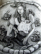 Gardening Drawings Originals - Homegrown by Lorelei Alvarez
