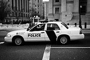 Cop Car Prints - Homeland Security Federal protective service white police car outside courthouse new york city Print by Joe Fox