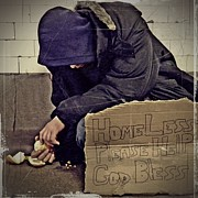 Homeless Man Prints - Homeless Please Help Print by Sarah Loft