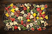 Iced Prints - Homemade Christmas cookies Print by Elena Elisseeva