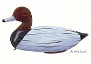 James Lewis Metal Prints - HomerFulcher Red Head Decoy Metal Print by James Lewis