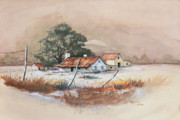 Ranch Drawings - Homestead by Bob Hallmark