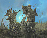 Surreal Cat Landscape Posters - Homestead. Fantasy Cottage Landscape Fairytale Art By Philippe Fernandez  Poster by Philippe Fernandez