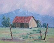 Old Fence Posts Painting Prints - Homestead Print by Marcea Clive