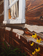Cabin Window Paintings - Homestead by Ron Plaizier