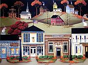Autumn Folk Art Paintings - Hometown America by Catherine Holman