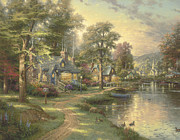 Lakeside Framed Prints - Hometown Lake Framed Print by Thomas Kinkade