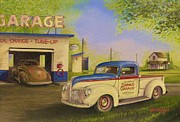 Service Station Paintings - Hometown Service by Whitey Thompson