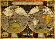 Old Map Paintings - Hondius map of the World 1595 by MotionAge Art and Design - Ahmet Asar