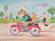 Motorcycle Cowboy Prints - Hondo and Bridgette Print by Sam Yonts