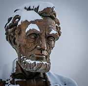 Abraham Lincoln Pictures Metal Prints - Honest Abe in Snow Metal Print by Cathy Smith