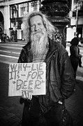 Homeless Man Prints - Honesty Print by Erik Brede