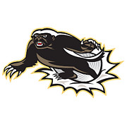Mascot Digital Art Metal Prints - Honey Badger Mascot Jumping Metal Print by Aloysius Patrimonio