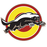 Isolated Digital Art Prints - Honey Badger Mascot Leaping Circle Print by Aloysius Patrimonio