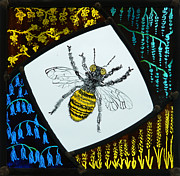 Stained Glass Art Metal Prints - Honey Bee Metal Print by Ron Harpham